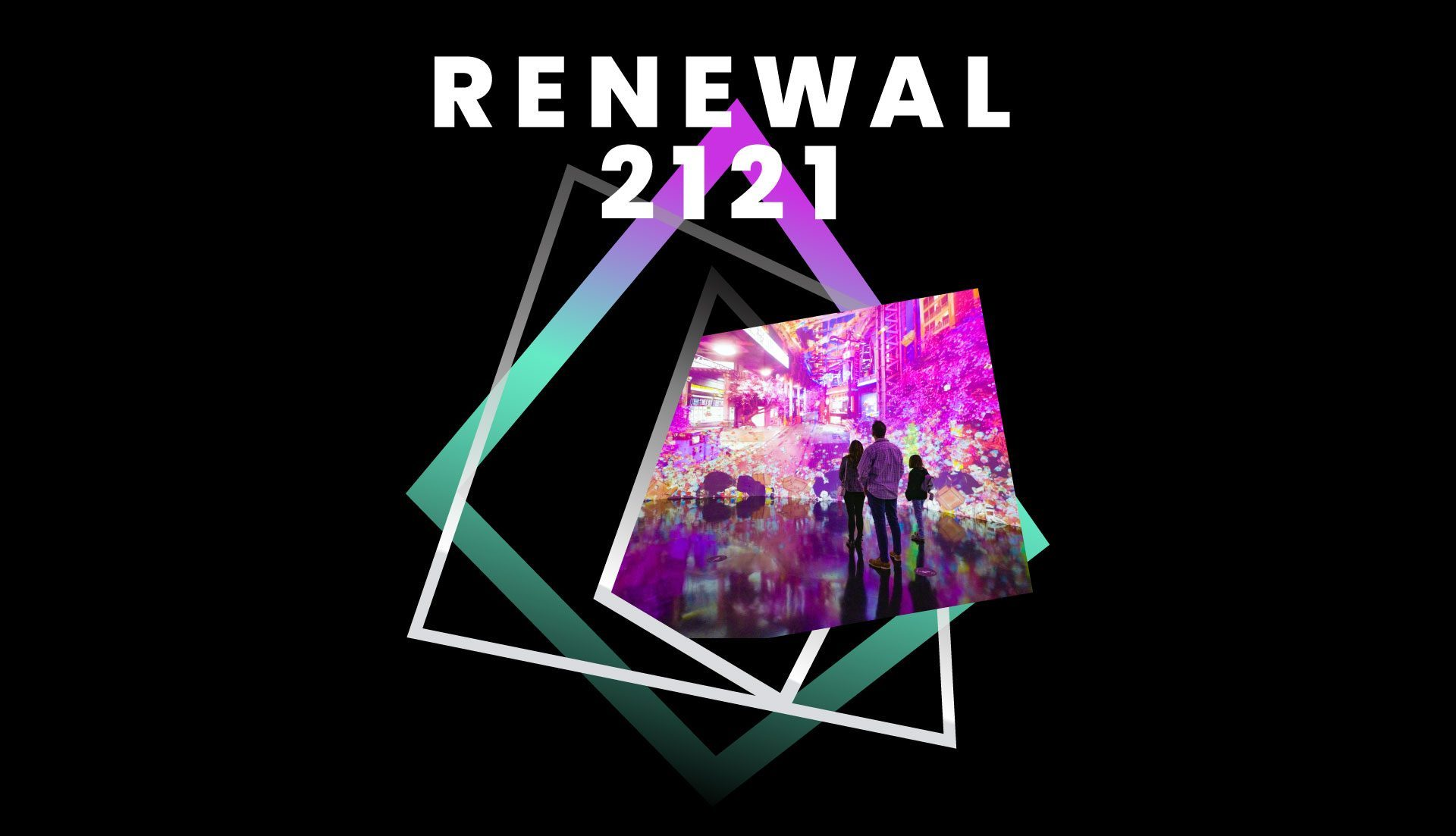 Renewal 2121 logo design with photograph of family looking at 270 degree projection art visuals